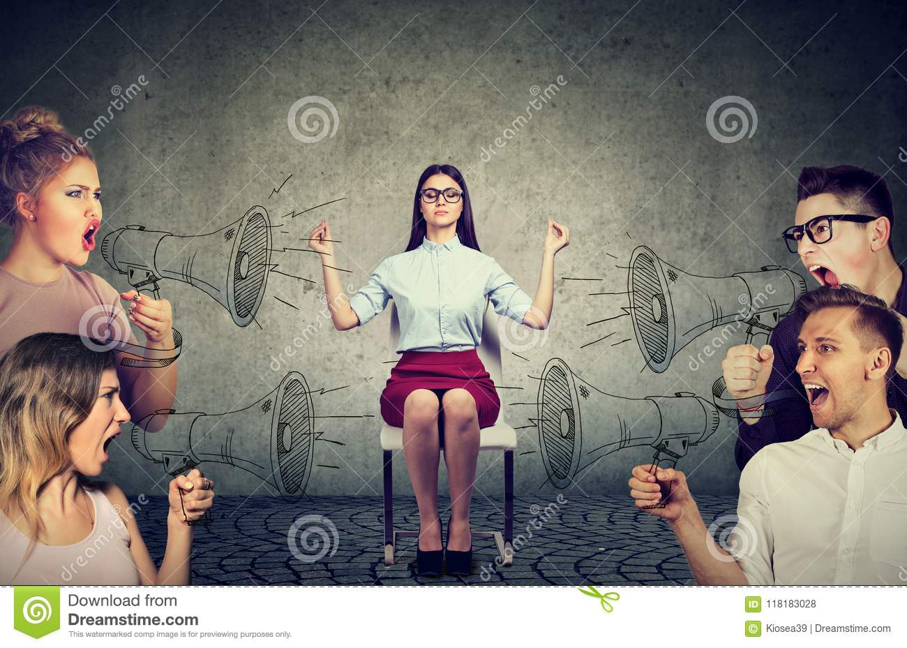 Meditating businesswoman paying no attention to crowd of screaming angry people