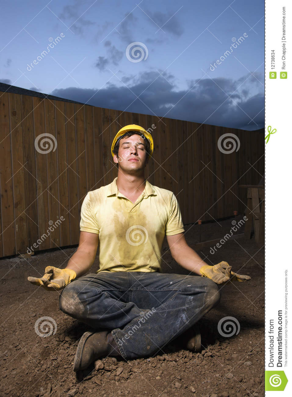 Meditating Construction Worker Stock Images Image 12738634