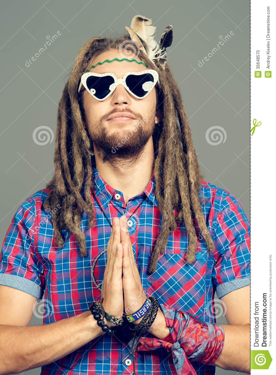 Meditating Hippie Stock Photo Image 35648570