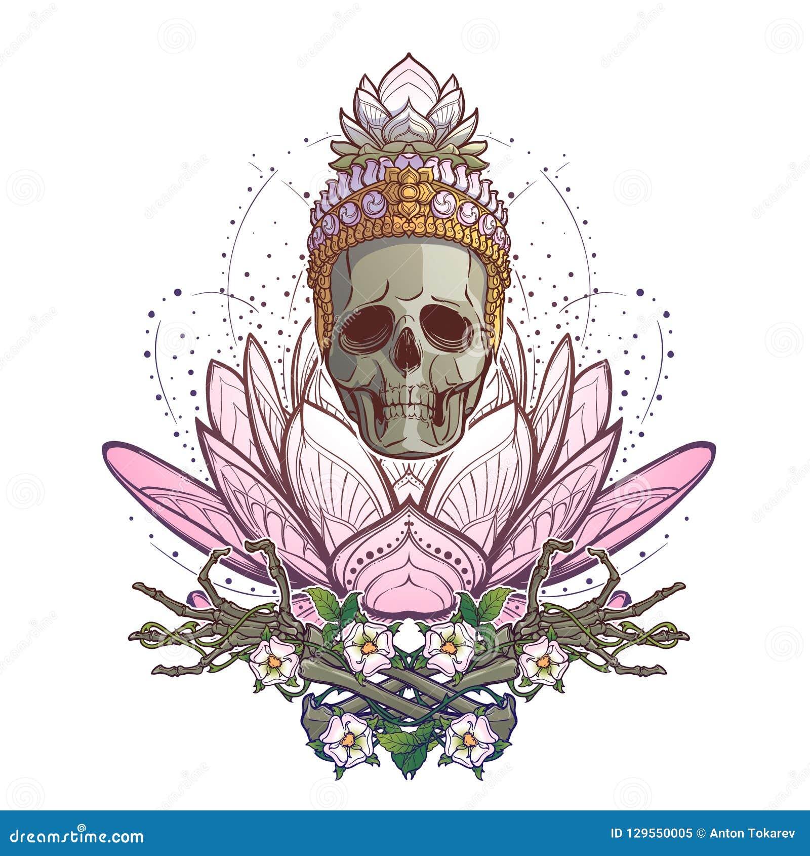 Meditating Skeleton Human Skull And Hands On A Sacred Lotus Flower