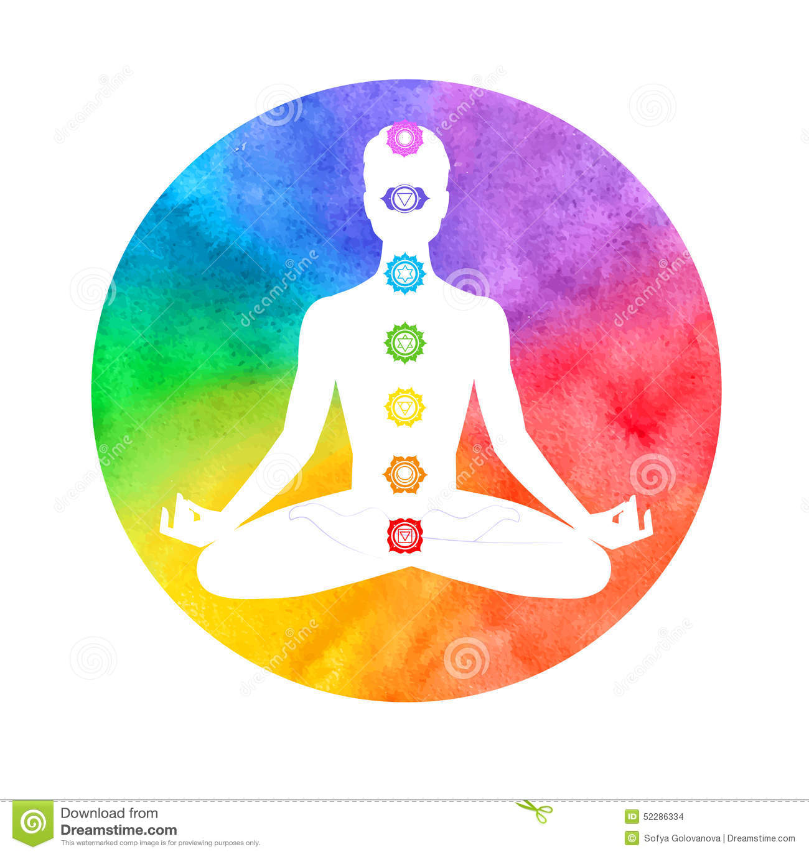 Meditation Aura And Chakras Stock Vector Image 52286334