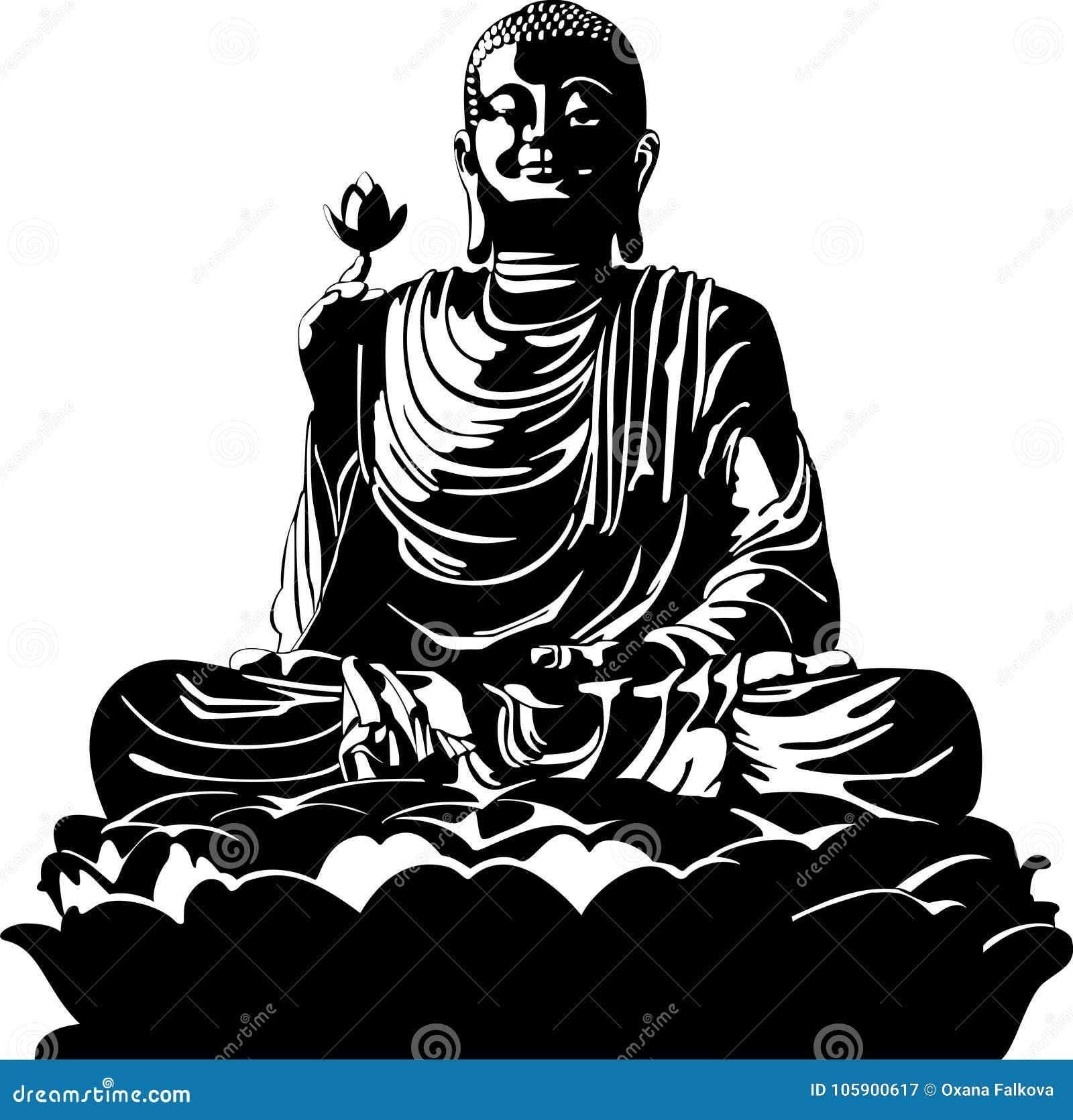 Vector illustration of meditation buddha black and white