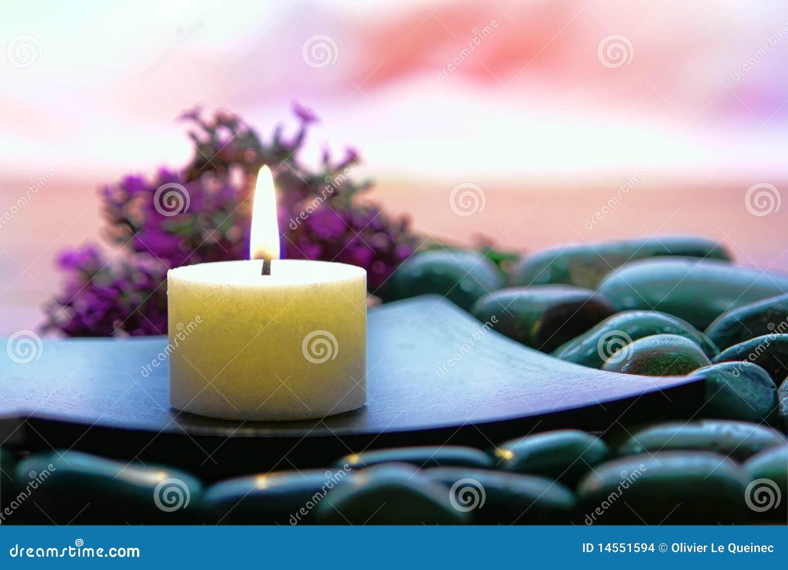 Meditation Candle Burning In Spiritual Zen Session Stock