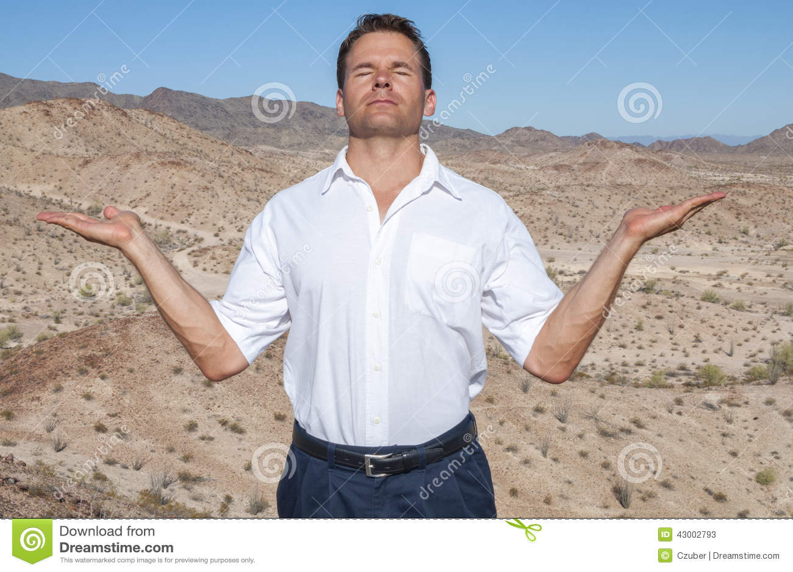 Meditation in desert stock image  Image of casual, heaven - 43002793
