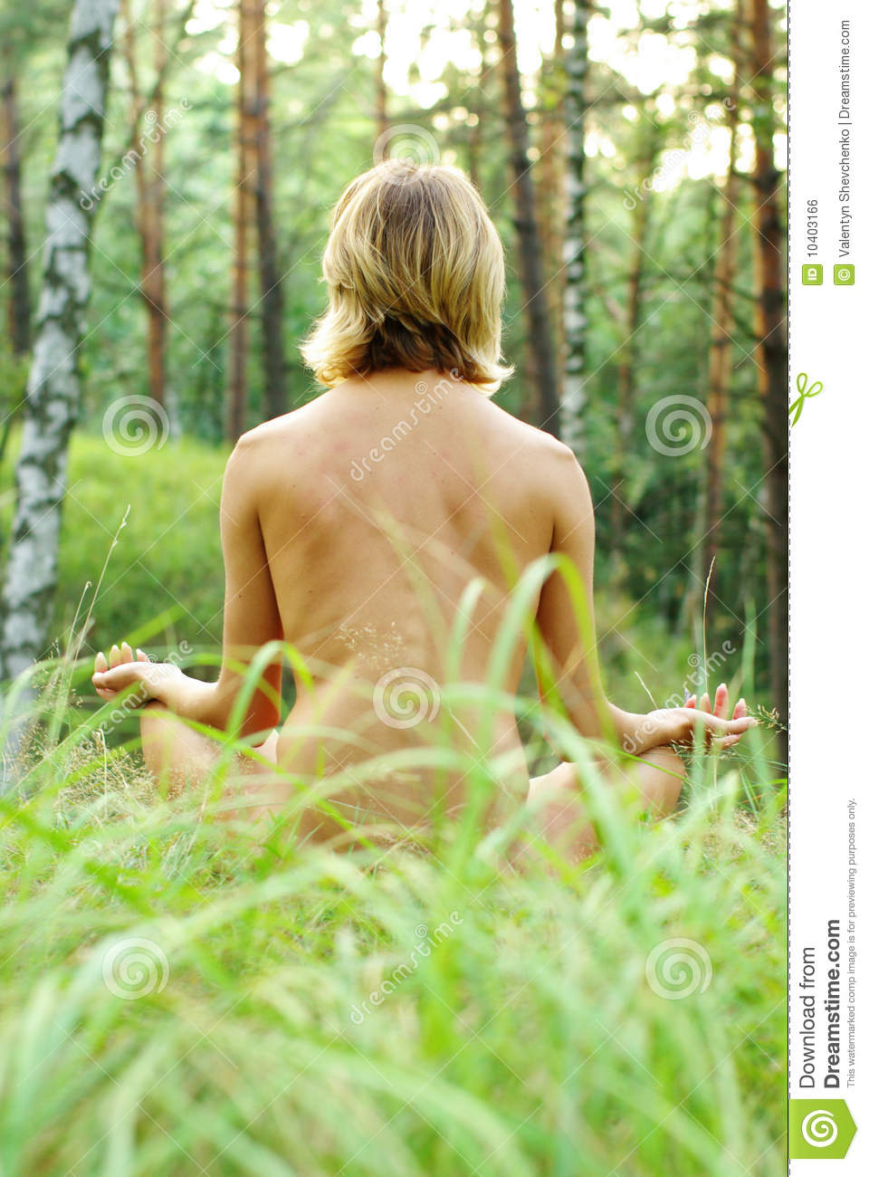 Meditation in the forest stock photo. Image of grass