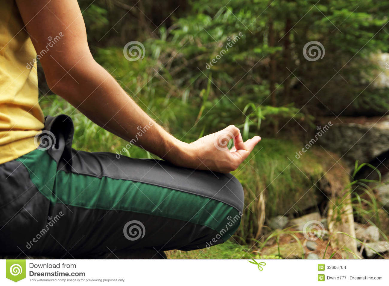 Woman Relaxing Meditation In A Forest Stock Photo - Image