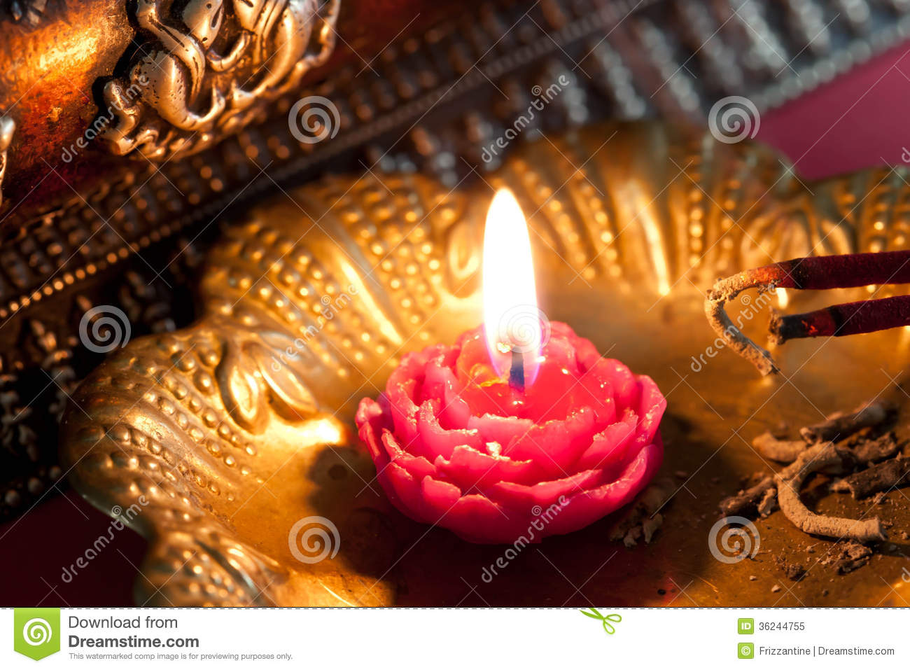 Meditation With Incense And A Candle Royalty Free Stock Photo ...