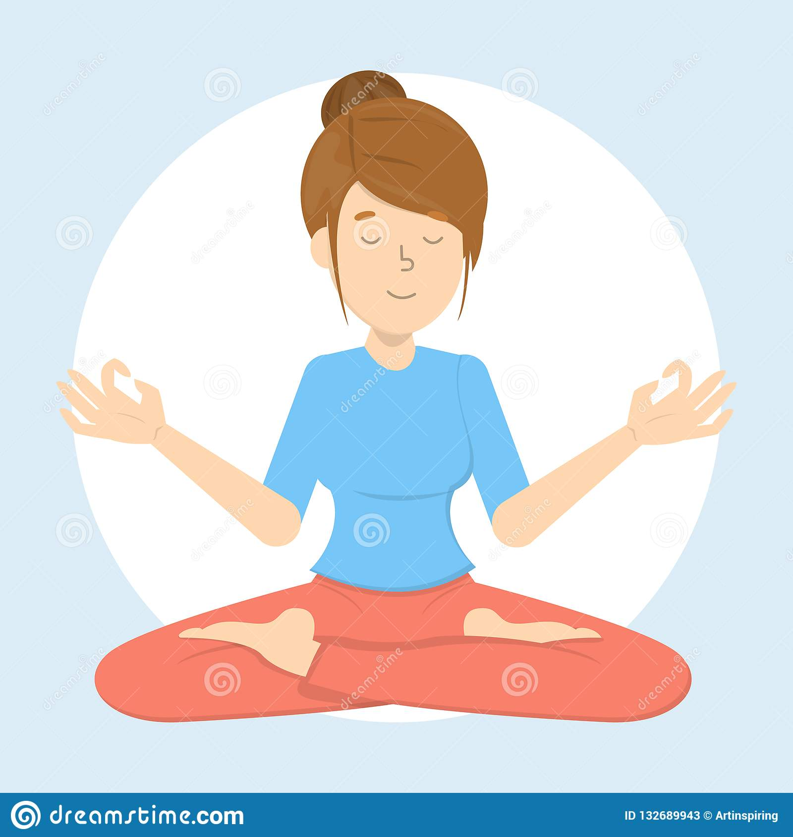 Meditation In A Lotus Pose. Yoga Practice Stock Vector ...