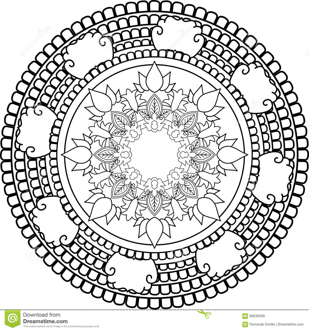 Meditation Mandalas Drawing With Coloring Lines On White
