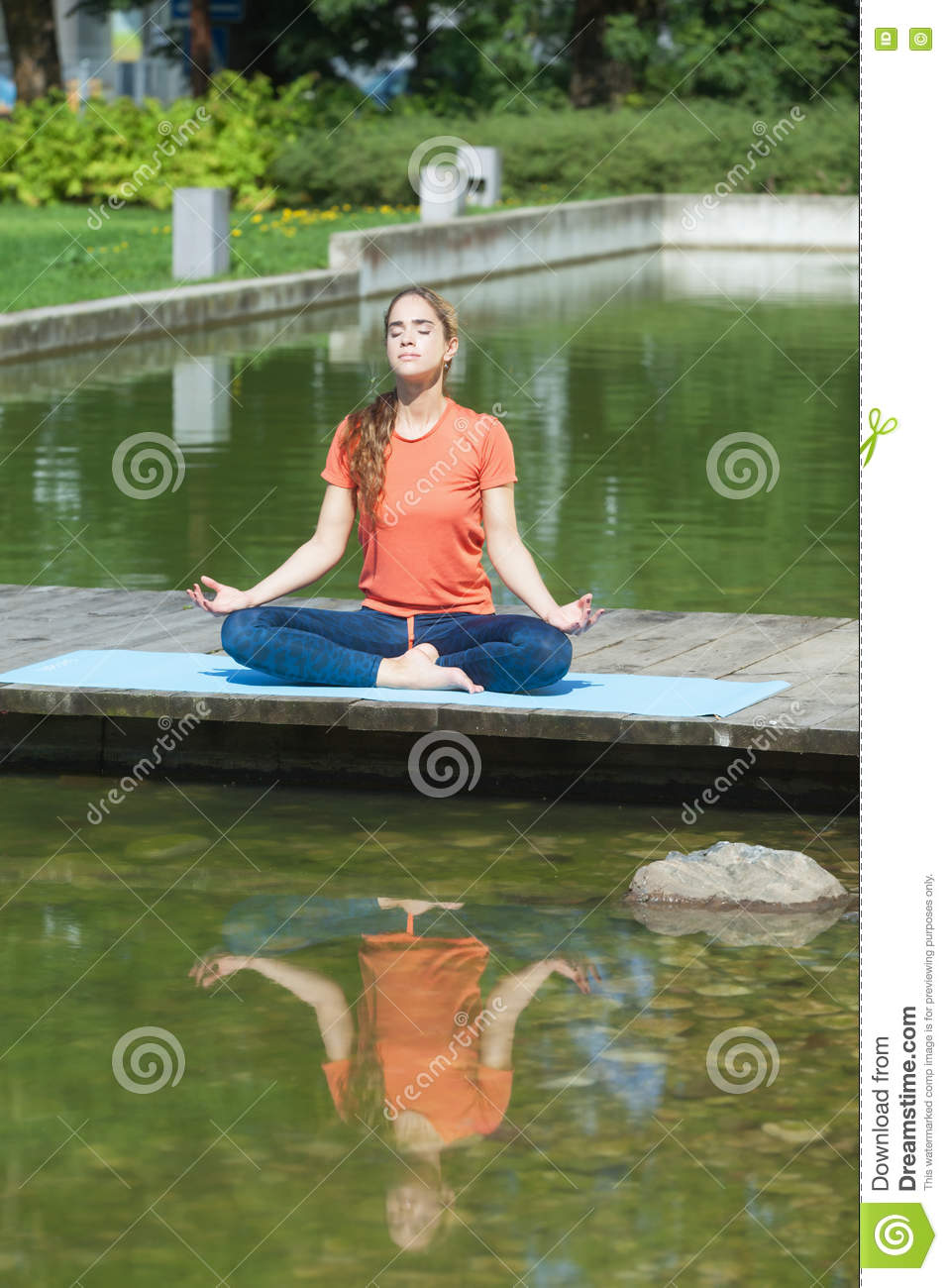 Download Meditation Next To The Water Stock Photo - Image of leisure, concentration: 76724244