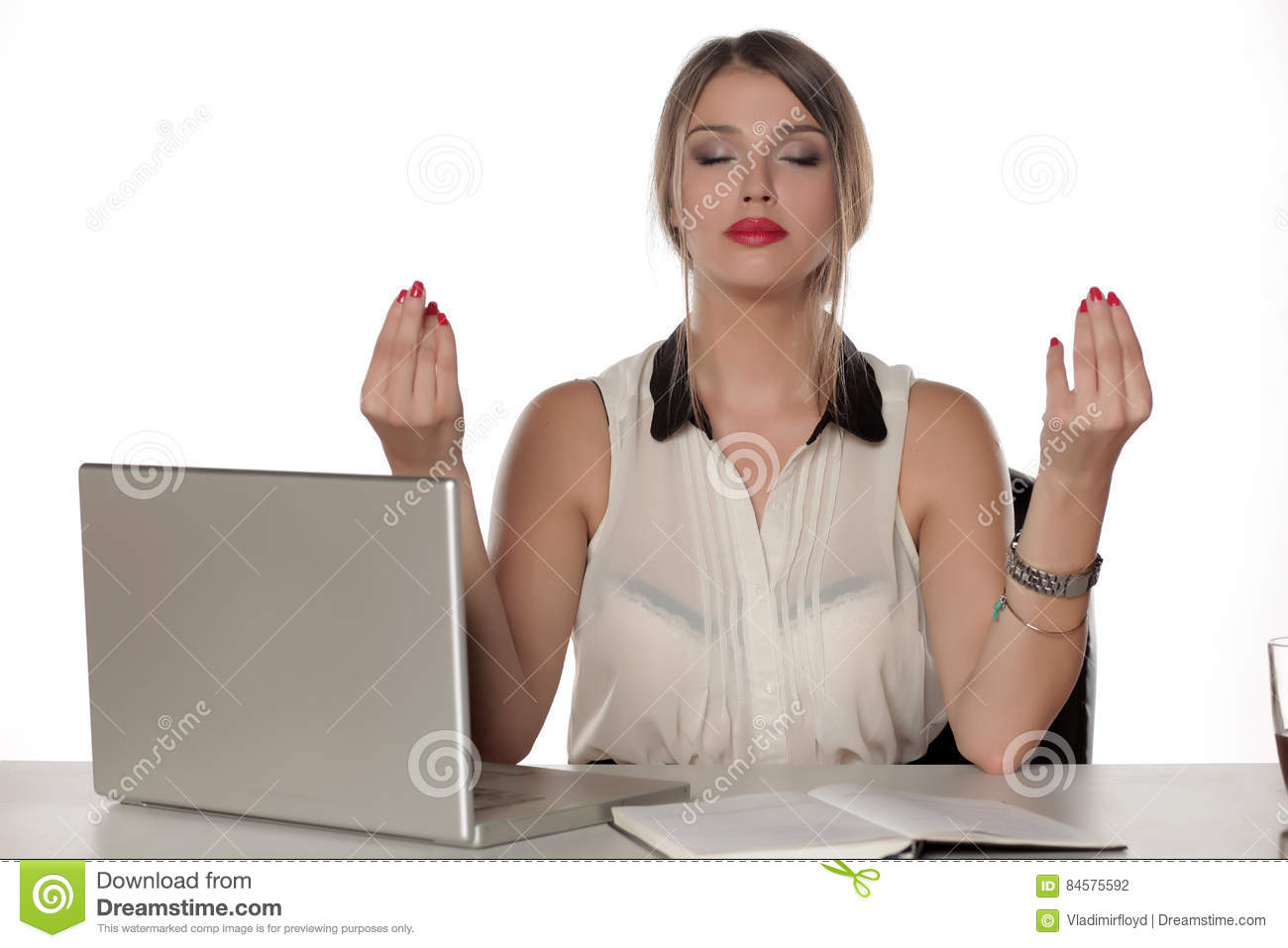 meditation office. Download Meditation In The Office Stock Photo. Image Of Business - 84575592