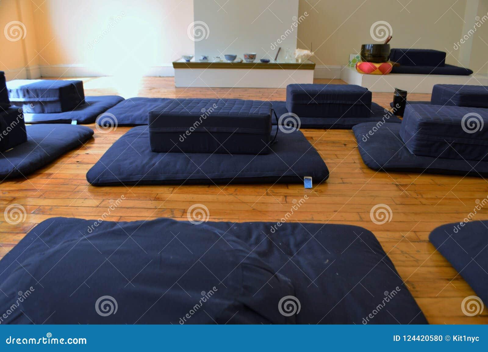 Meditation Room Set Up Cushions And Pillows Preparation Of