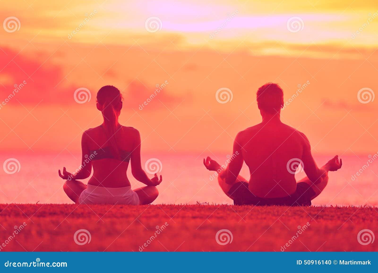 abbastanza Meditation Yoga Couple Meditating At Beach Sunset Stock Image  AW31