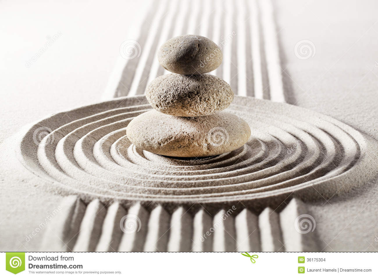 meditation with zen design in sand stock images - image: 36175304