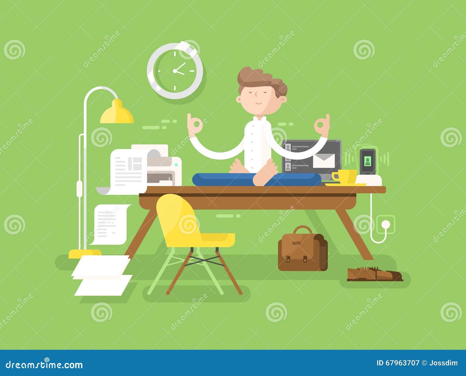 Meditationsgeschäftsmann im Büro