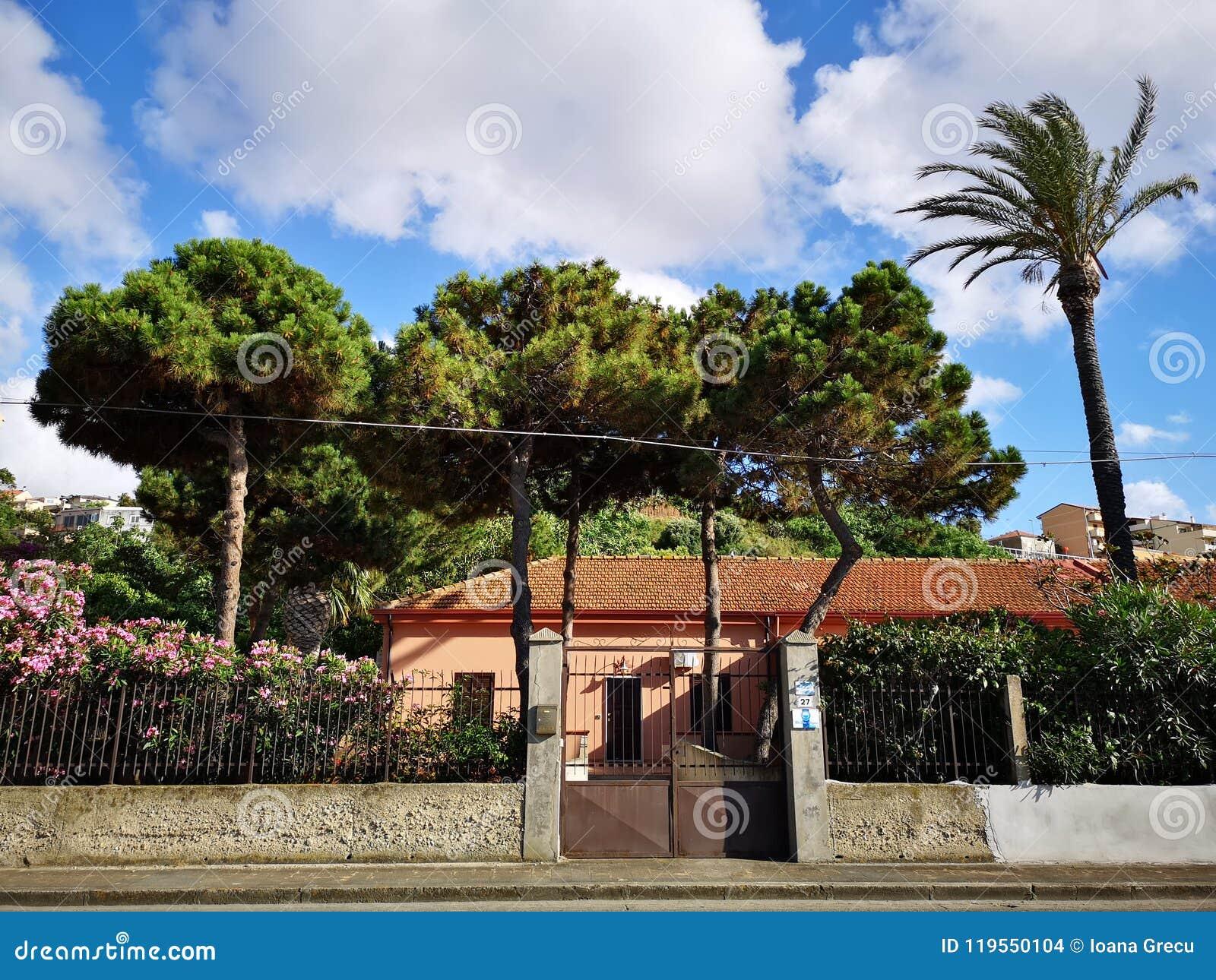 Bomen In Tuin : Mediterraan stijlhuis met bomen en tuin stock foto afbeelding