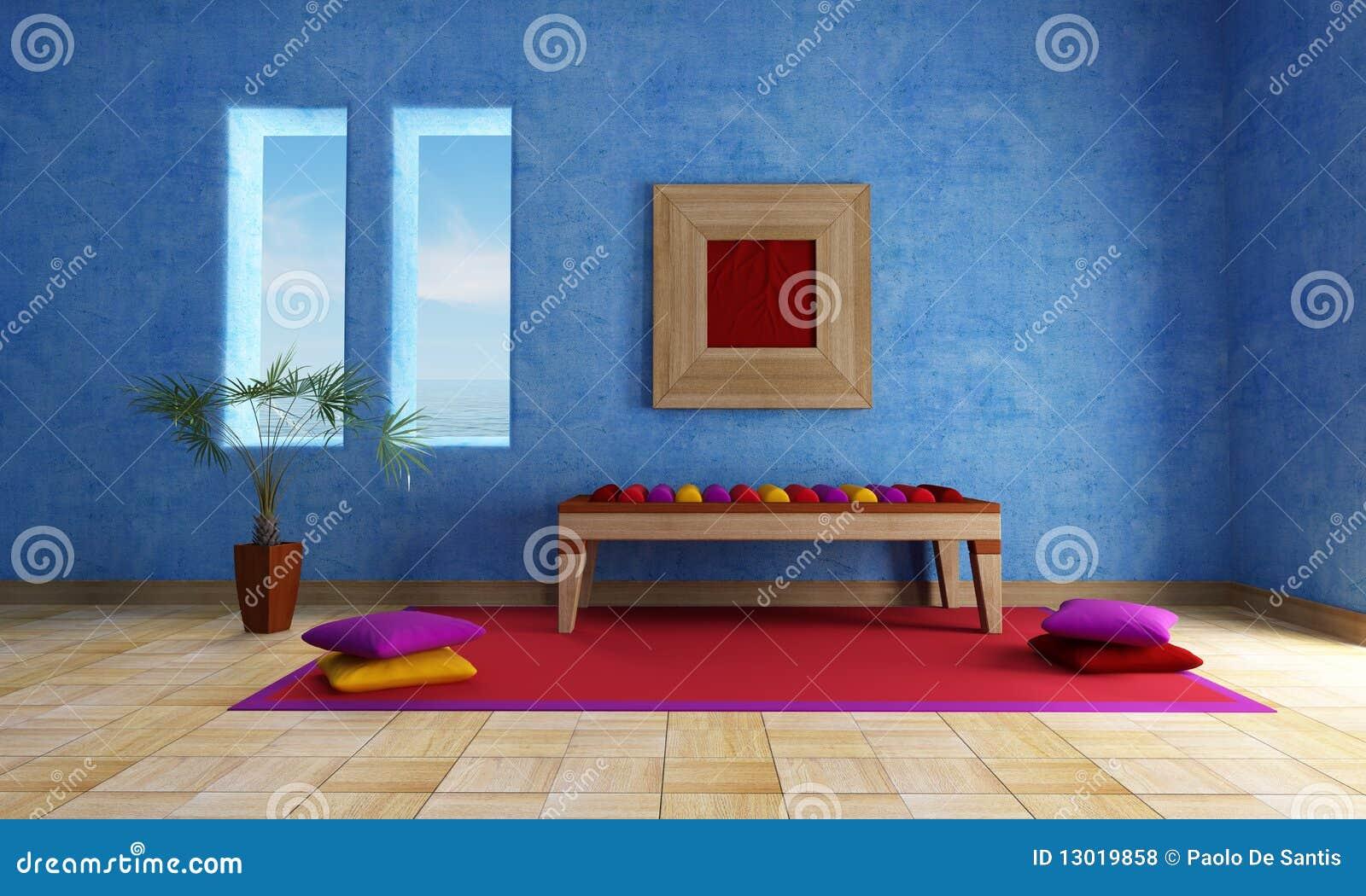 Woonkamer met bank en blauwe muur stock foto's– 104 woonkamer met ...