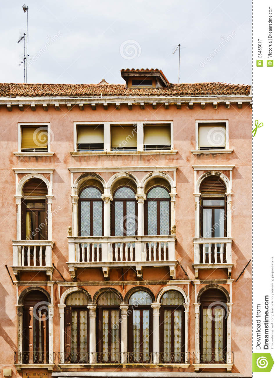 architecture of the venetian balconies venice italy europe
