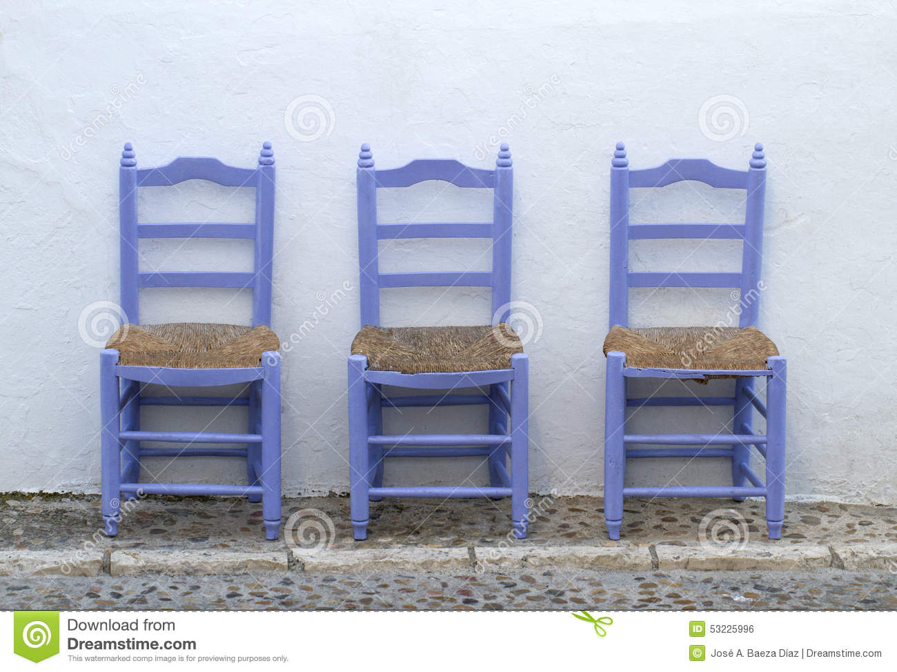 Mediterranean Blue Chairs Alone Stock Photo - Image: 53225996