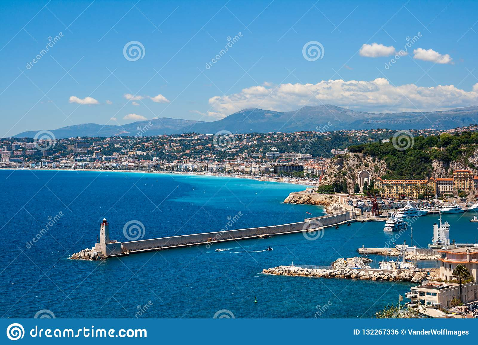 Coastline of Nice city in Southern France