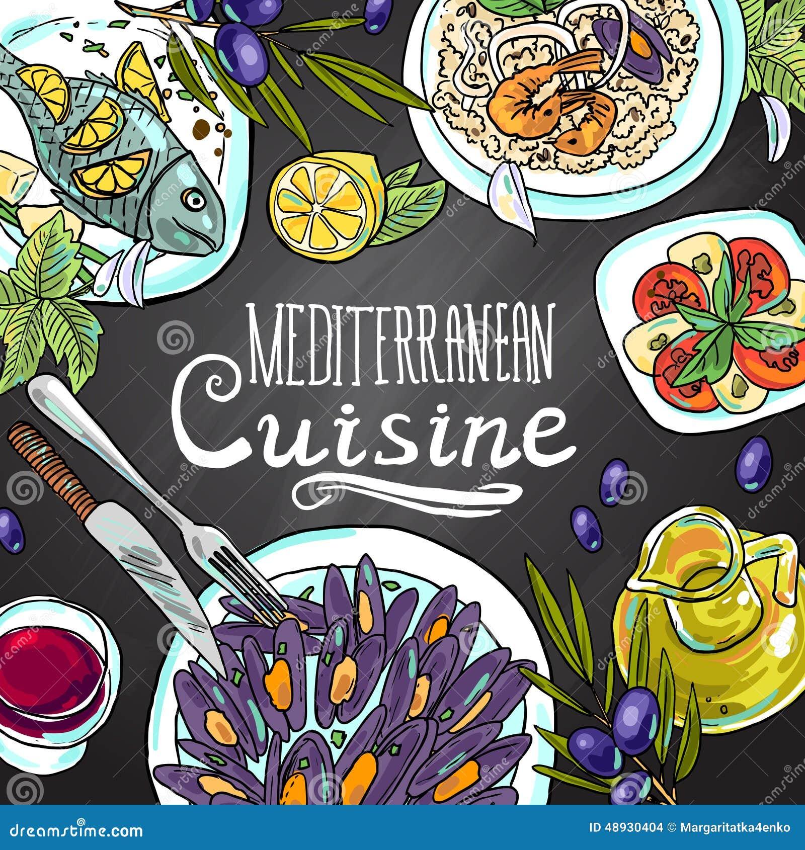 Mediterranean cuisine stock vector image 48930404 for Afghan cuisine sugar land menu