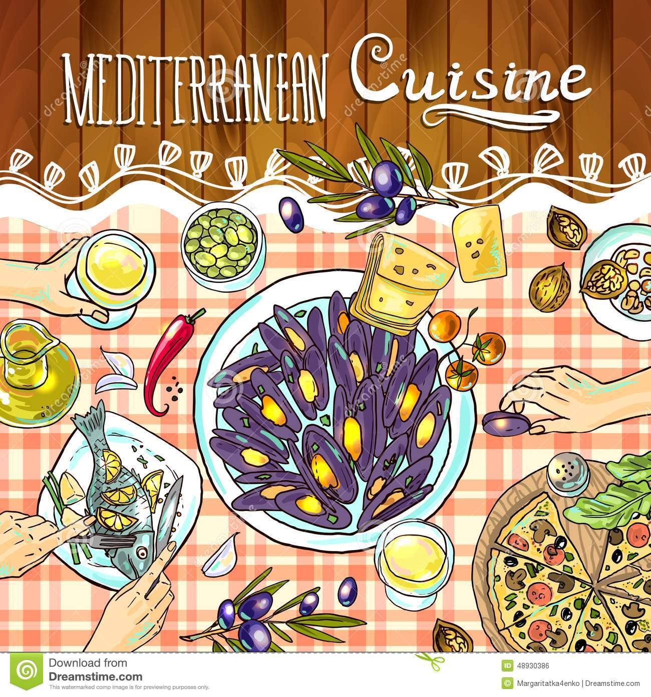 Mediterranean Cuisine Stock Vector Illustration Of Abstract 48930386