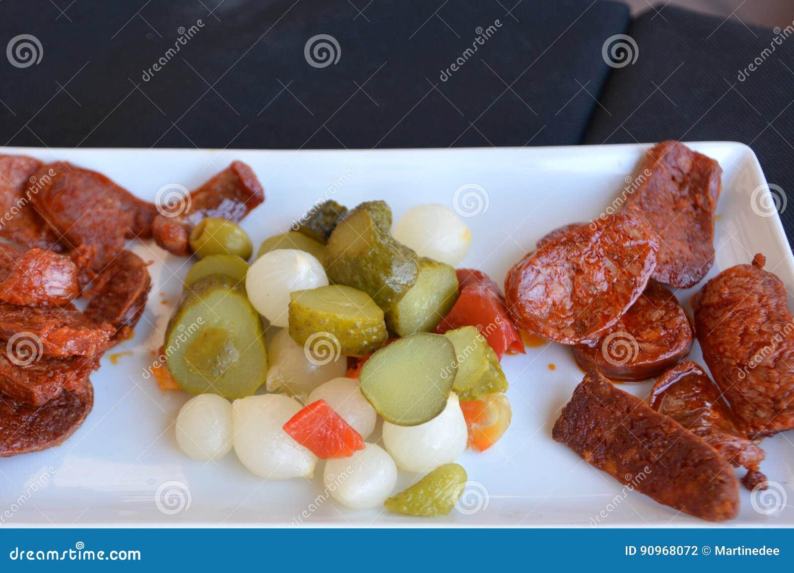 Mediterranean Cuisine  Spanish Tapas Starters On A