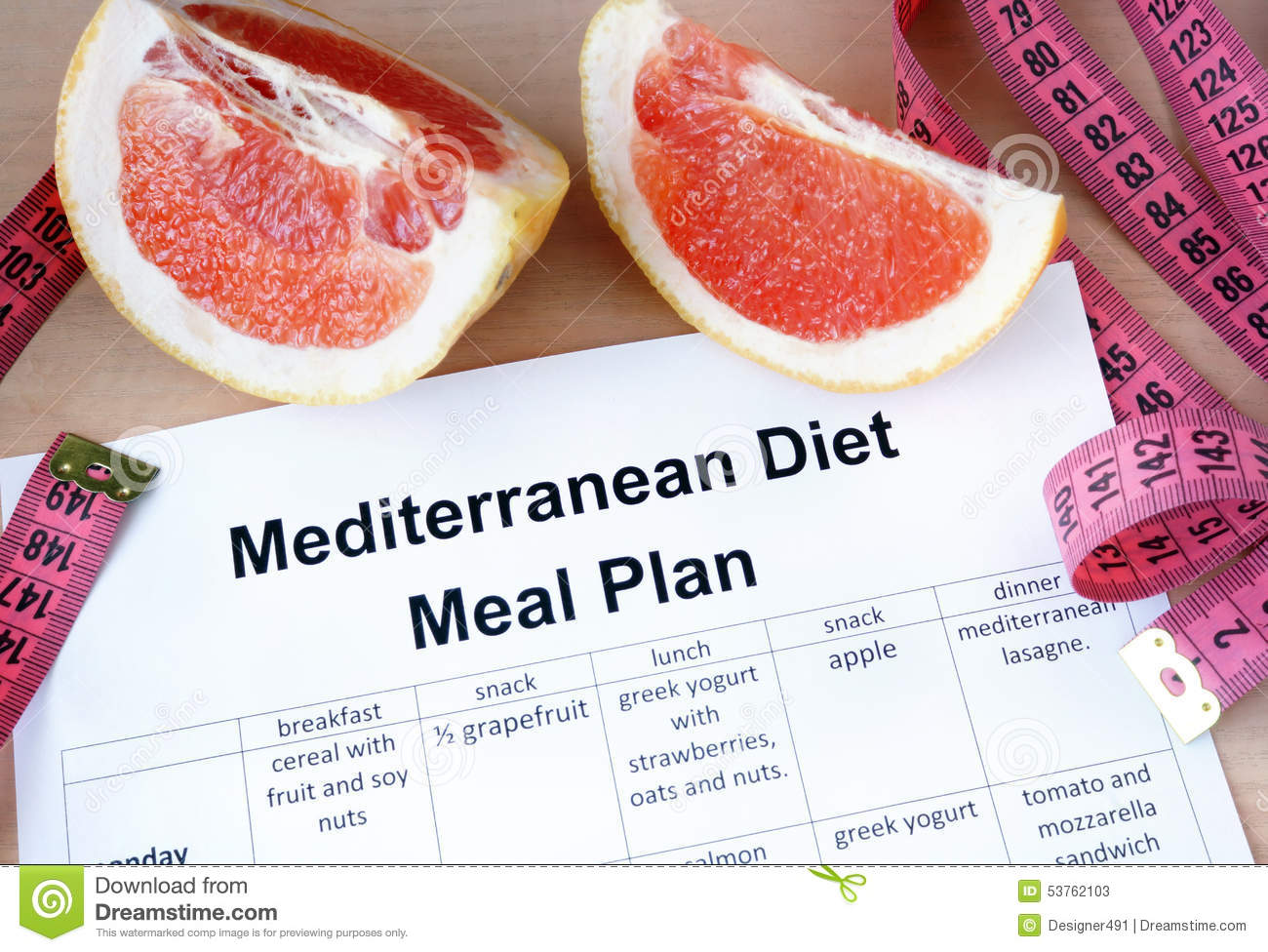 Mediterranean Diet Meal Plan And Grapefruit. Stock Image ...