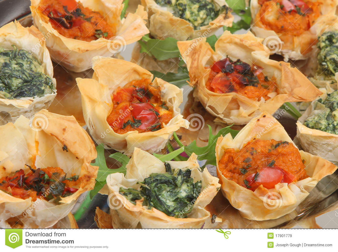 Mediterranean filo pastry canapes royalty free stock for Pastry canape fillings