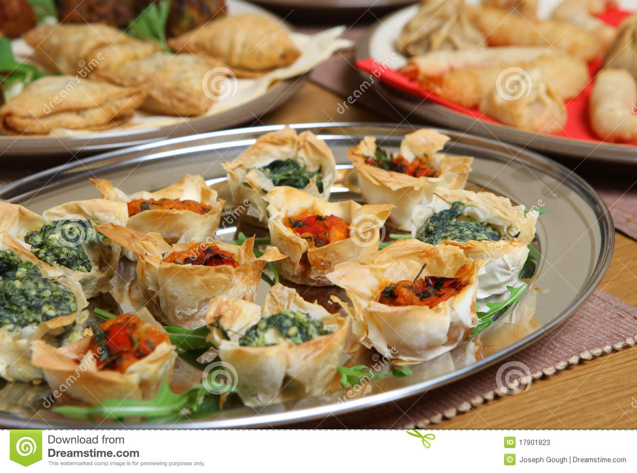 Mediterranean filo tartlet canapes stock photos image for Pastry canape fillings