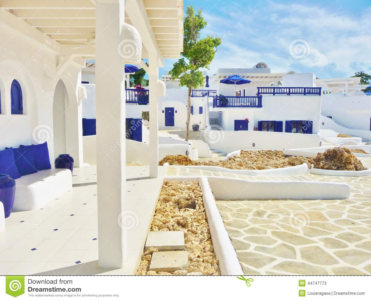 Mediterranean Houses - Blue And White Stock Image - Image of ...