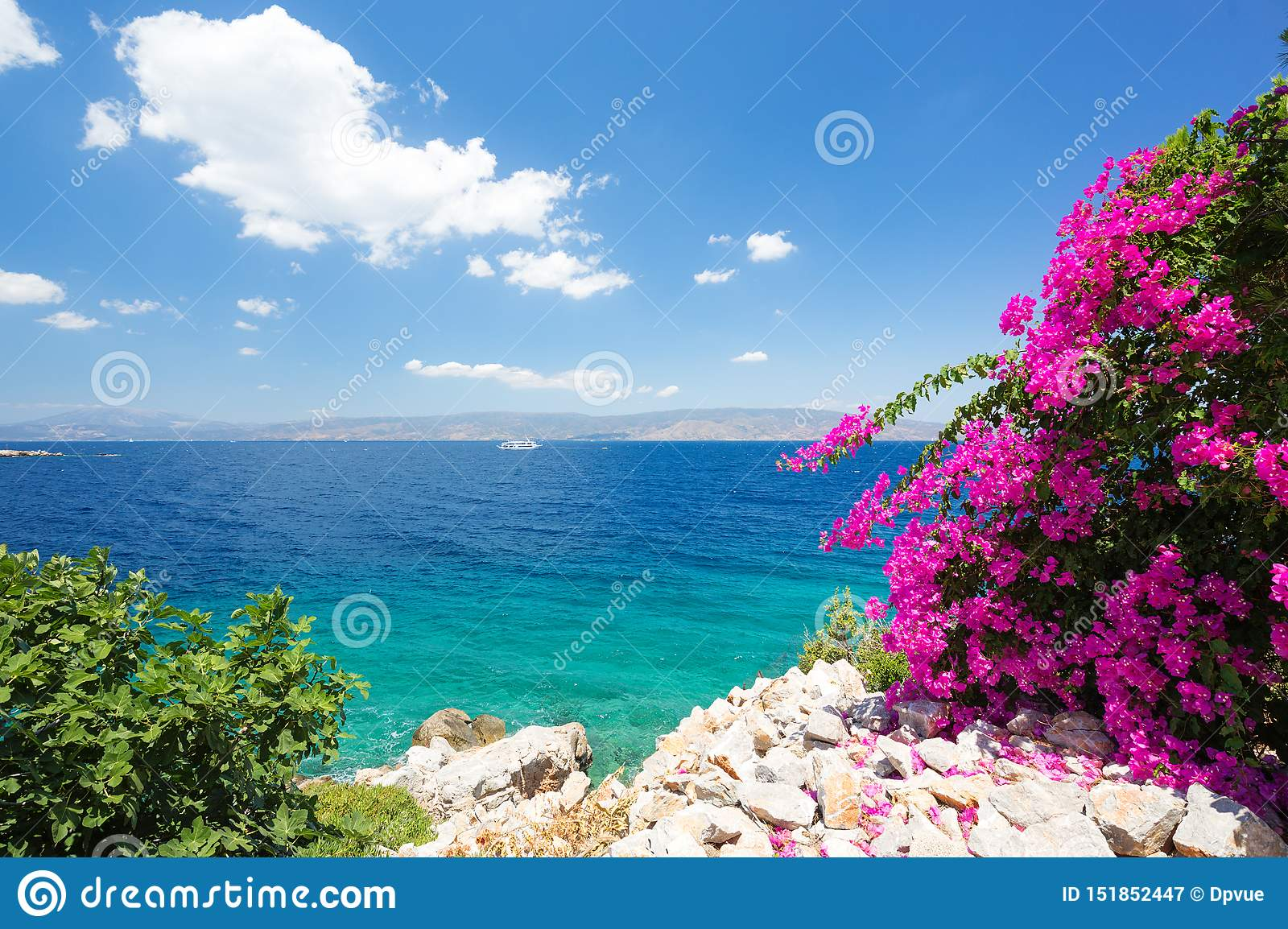 Mediterranean Landscape Blue Sky And Clear Waters With Beautiful