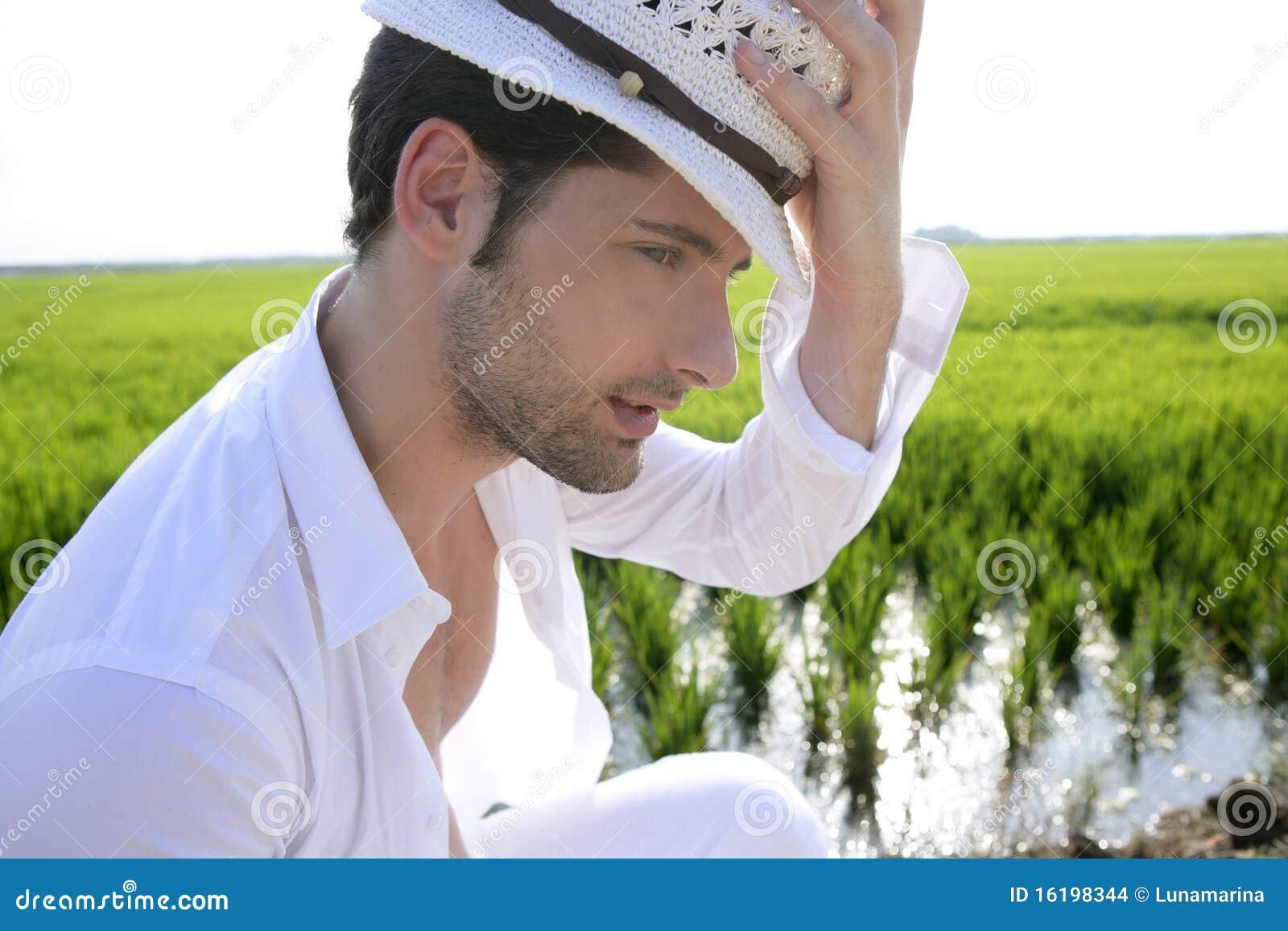 Mediterranean Man Portrait White Hat Inmeadow Stock Images ...