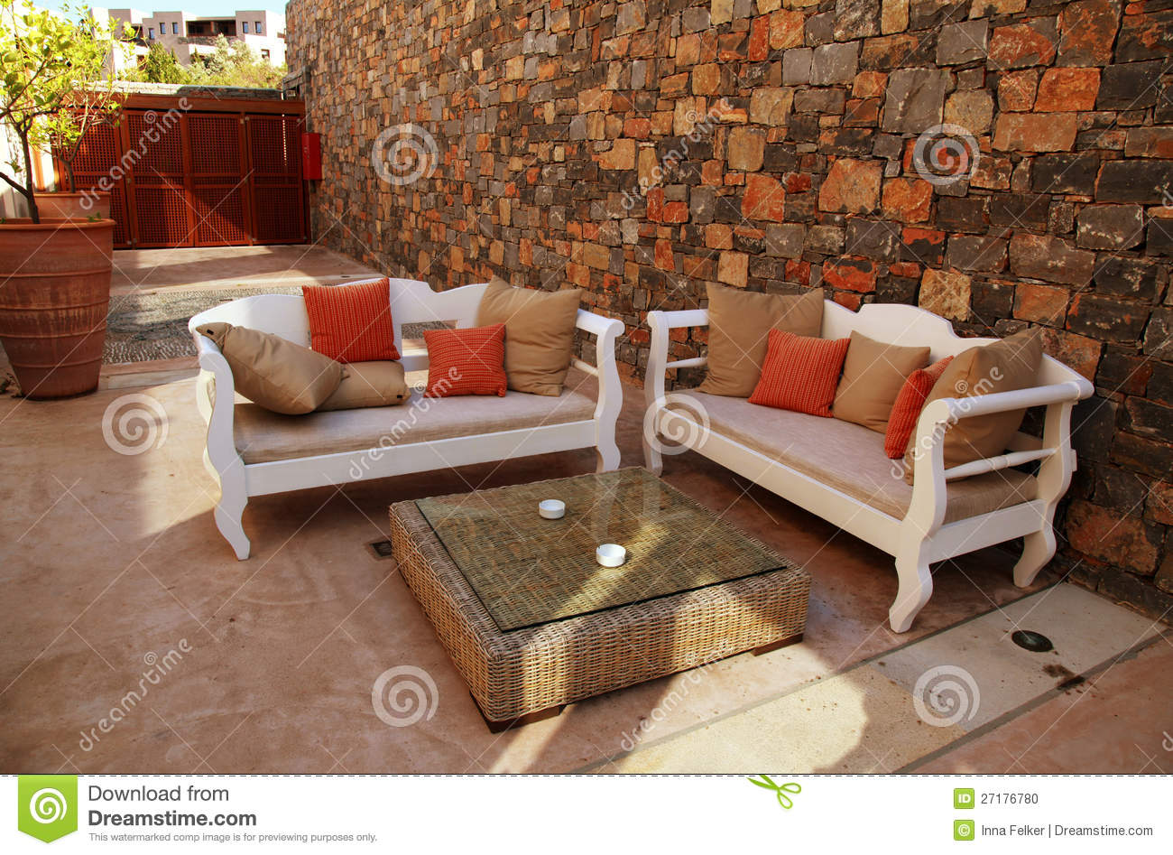 mediterranean outdoor furniture. Mediterranean Patio With White Outdoor Furniture E