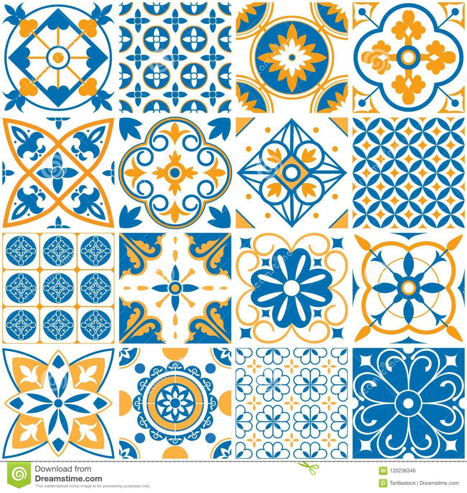 Mediterranean Pattern. Decorative Lisboa Seamless Patterns ...