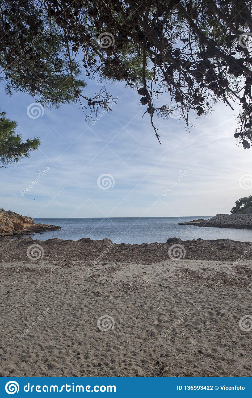 The mediterranean sea in the ametlla de mar, Costa daurada. Spain stock photography
