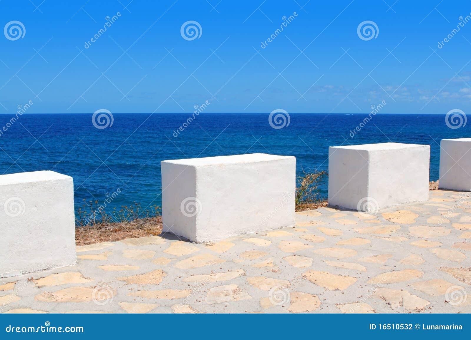 Mediterranean Sea Coastal View White Milestones Stock ...