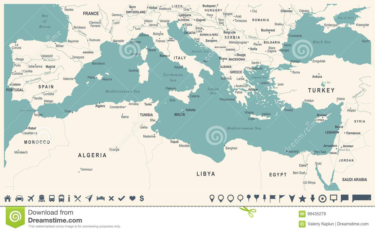 Mediterranean Sea Map - Vintage Vector Illustration Stock ...