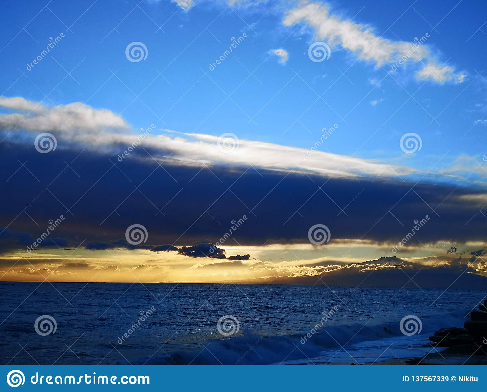 Mediterranean sea with mount Etna