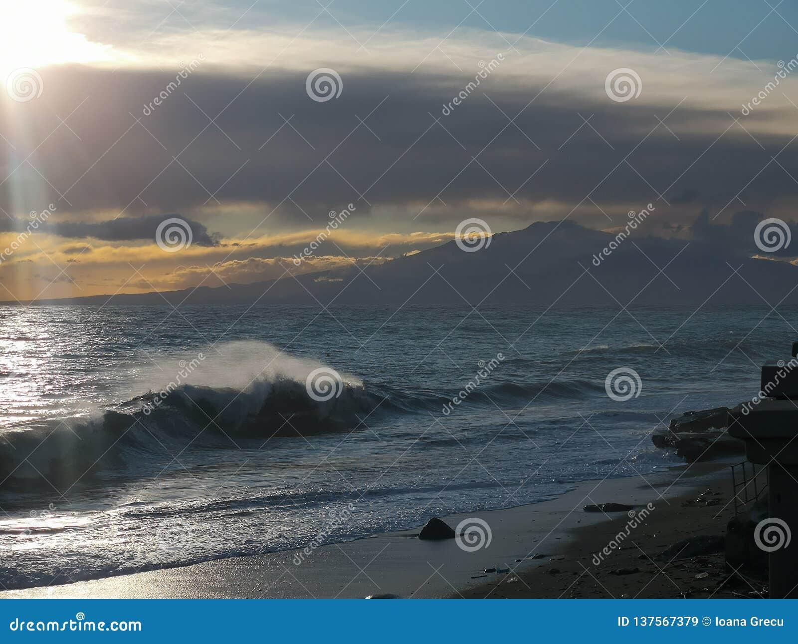 Mediterranean sea with mount Etna