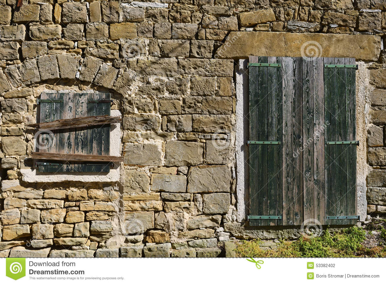 Mediterranean Stone Building Facade Stock Photo Image