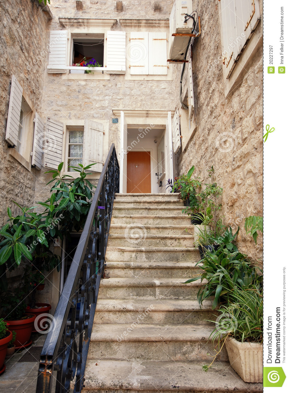 Mediterranean stone house with steps stock image image for Mediterranean stone houses