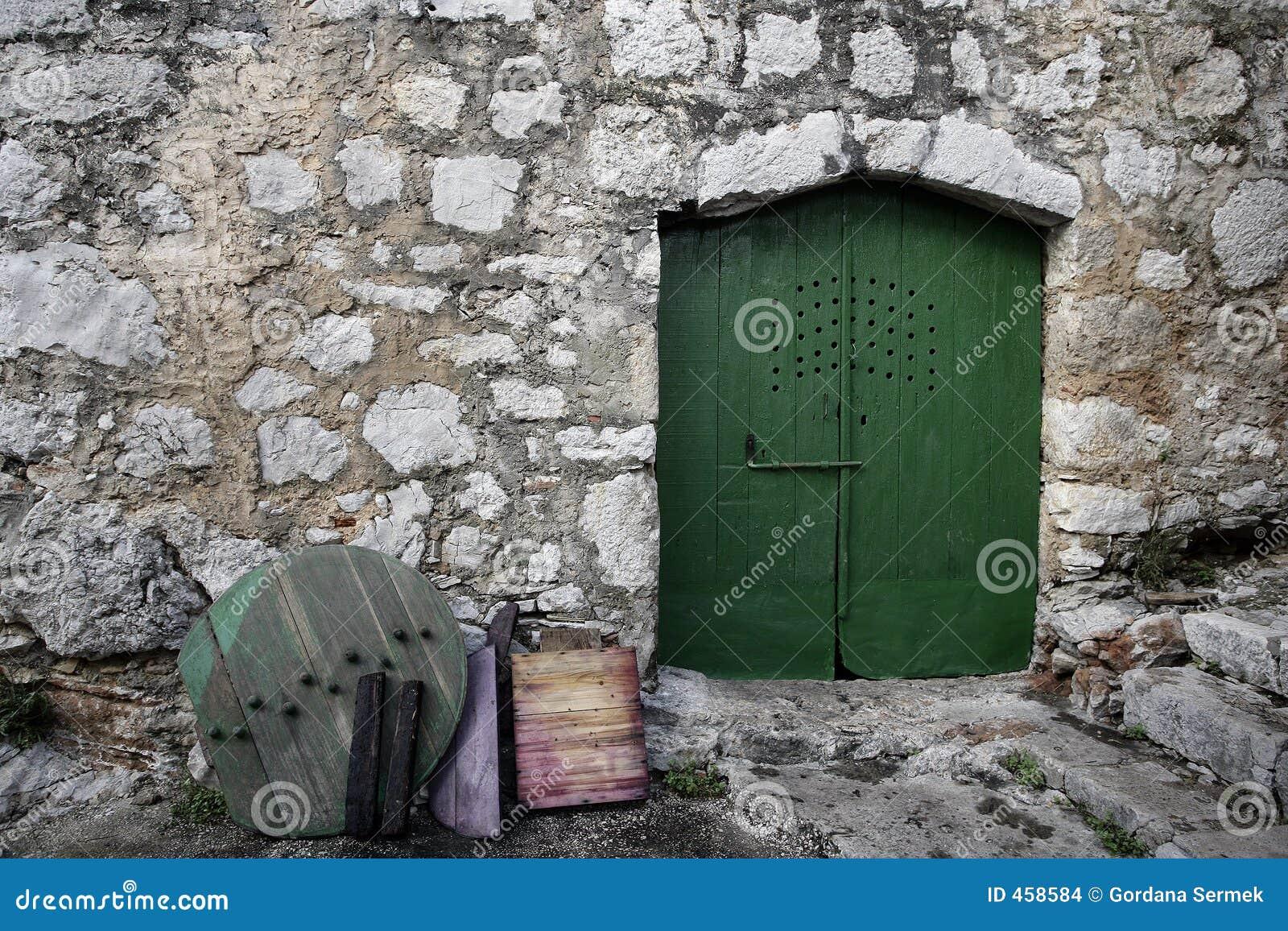 Mediterranean street and green doors