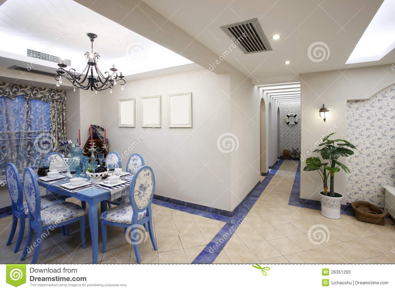 The Mediterranean-style Dining Room Stock Image - Image of decor ...