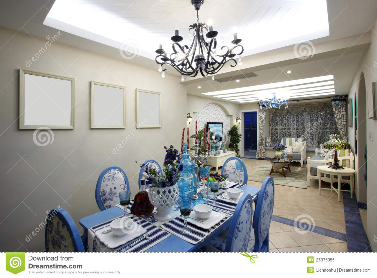 The Mediterranean Style Dining Room Stock Photo Image Of Floor