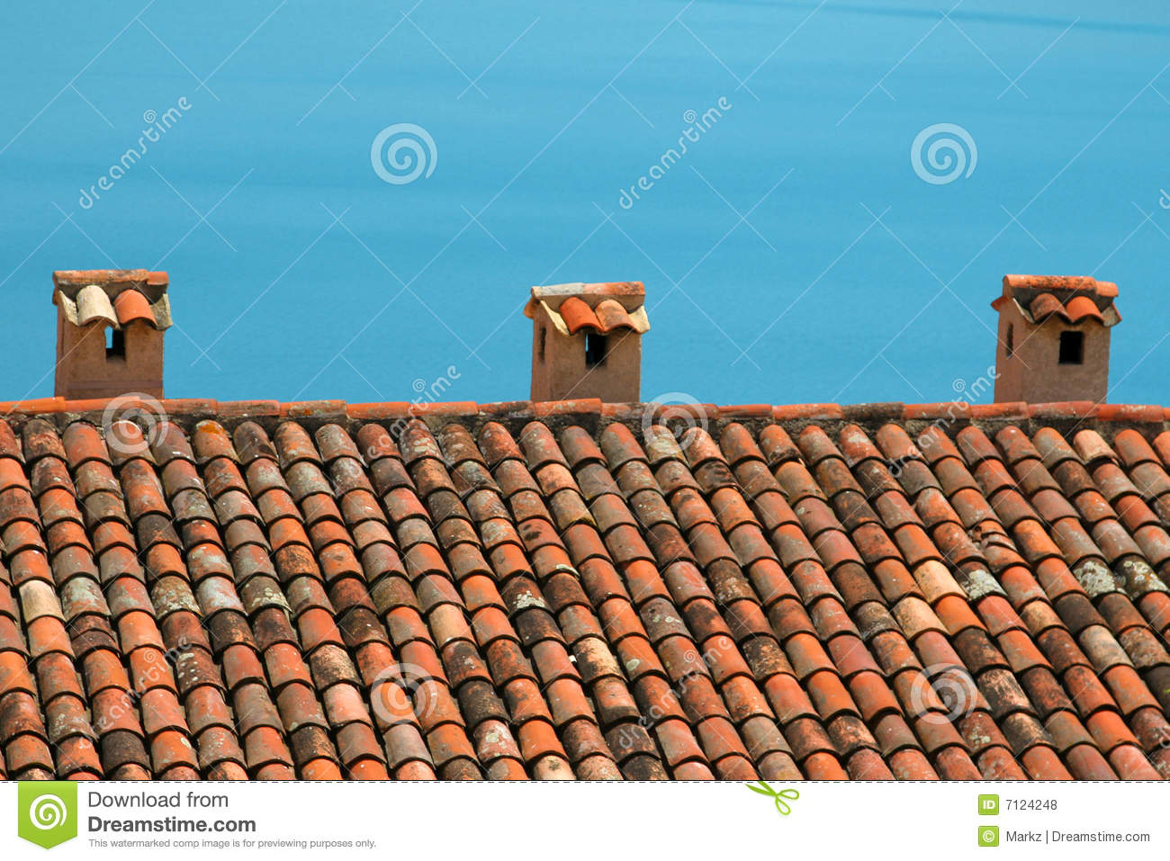 Mediterranean style roof stock photo image of chimney for Mediterranean roof styles