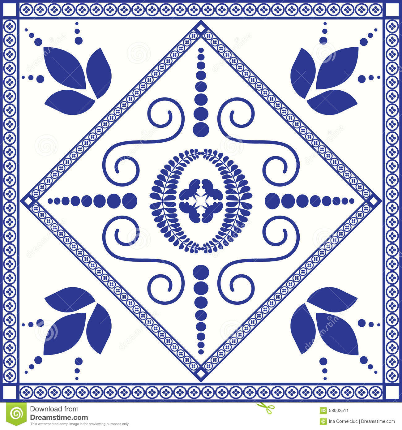 Mediterranean Traditional Blue And White Tile Stock Vector ...