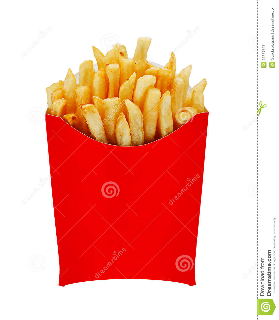 medium fries in box isolated on white stock image image. Black Bedroom Furniture Sets. Home Design Ideas