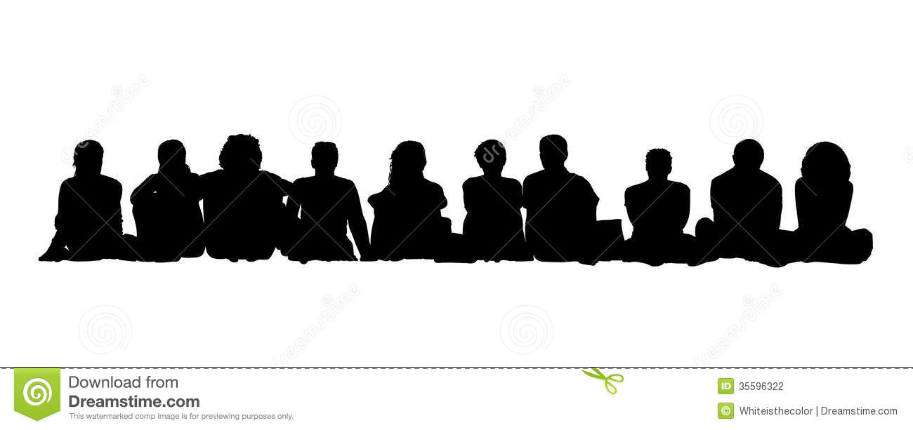 Medium Group Of Adults Seated Silhouettes 1 Stock ...