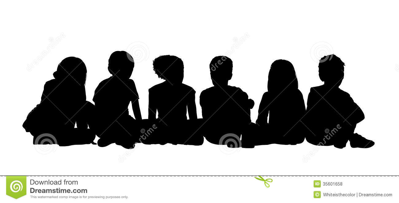 Medium Group Of Children Seated Silhouette 2 Stock ...